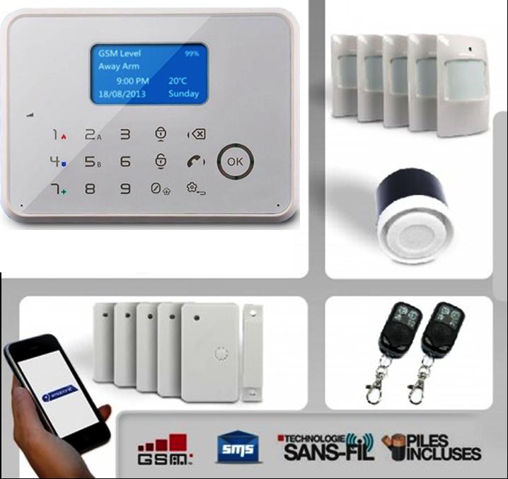 Alarme maison sans fil et filaire GSM EMATRONIC 4-5 pièces AL02 PREMIUM