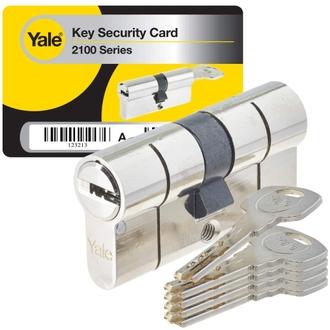 Cylindre de serrure débrayable pour porte extérieure/entrée 10 Goupilles, 5 Clés, Nickelé - Yale série YC2100