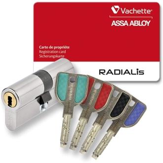 Vachette Radialis cylindre de serrure pour porte extérieure/entrée | Très haute sécurité, 4 Clés incopiables, carte de propriété, inox