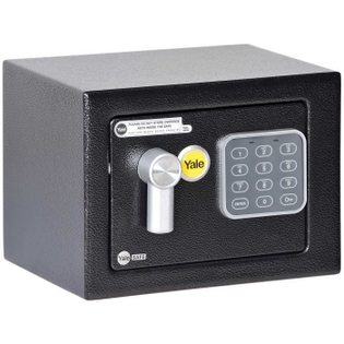 Coffre-Fort à Serrure Electronique 100 000 combinaisons, A Poser et Sceller   Mini Format, 17 x 23 x 17 cm (3,8L), Noir - Yale YSV/170/DB1