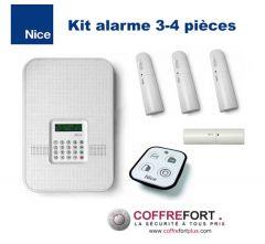 Alarme maison double-fréquence pour 3 ou 4 pièces - NICE - Sans Fil - RTC
