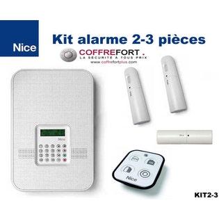 Alarme maison pour 2 ou 3 pièces - KIT NICE - Sans Fil - RTC et GSM