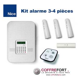 Alarme maison double-fréquence 3 ou 4 pièces - NICE - Sans Fil - RTC et GSM